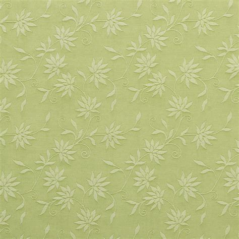 light green floral linen look upholstery fabric by the yard