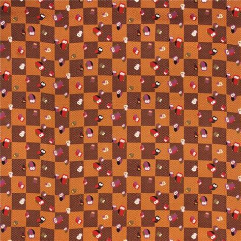 Kyoto Square Brown by Structured Brown Kyoto Owl Chessboard Twill Fabric From