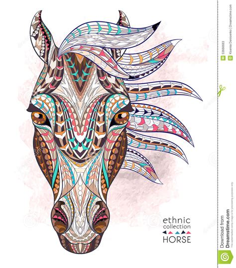 tattoo freehand pen horse head zentangle stylized vector illustration