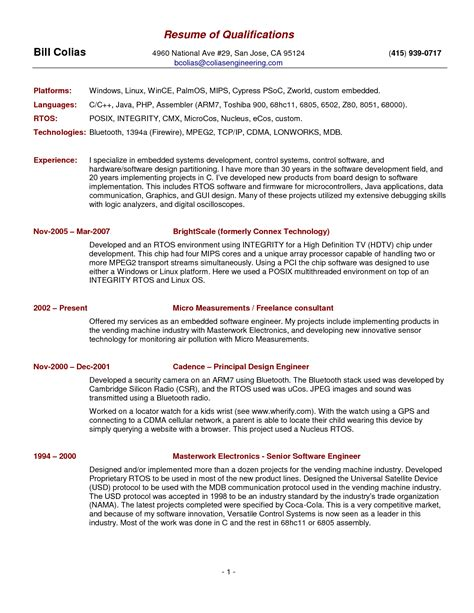 Exles Of Qualification Summary For Resume by Summary Of Qualifications Resume Exles Berathen