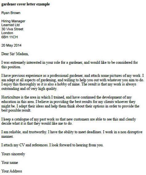 gardener cover letter learnistorg