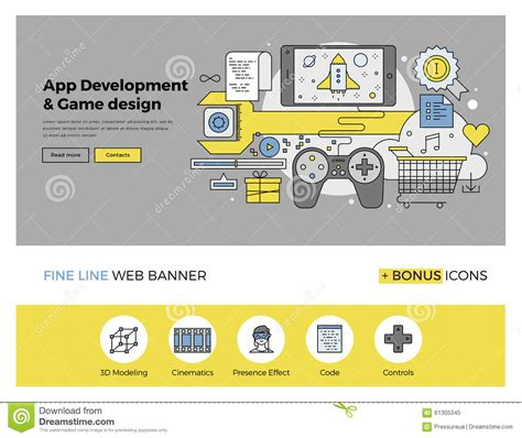 app and game develop flat line banner stock vector image