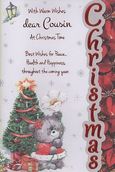 female relation christmas cards  warm wishes dear cousin  christmas time