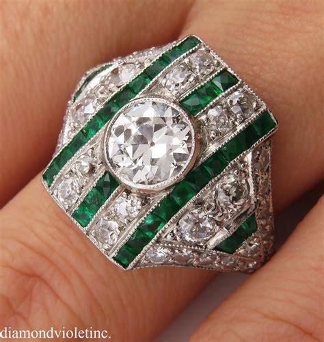 Art Deco 3.31ct Old European Diamond Emerald Wedding