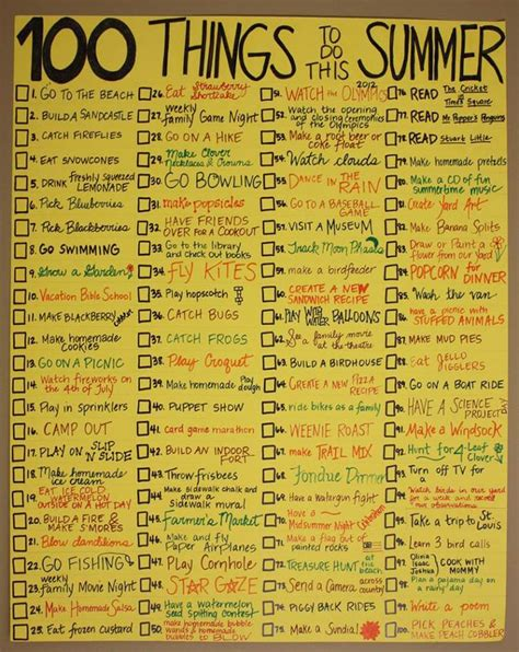 100 things to do the summer i the simplest