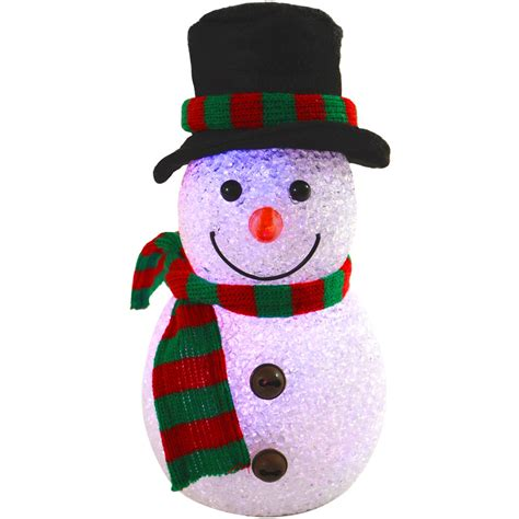 22cm colour changing light up eva snowman with hat scarf