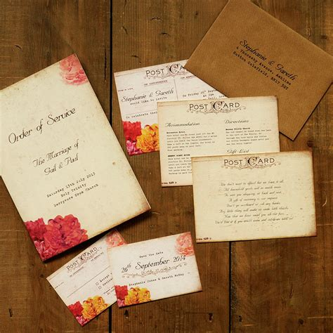 Post Card Wedding Invitations by Shabby Chic Postcard Wedding Invitation Feel