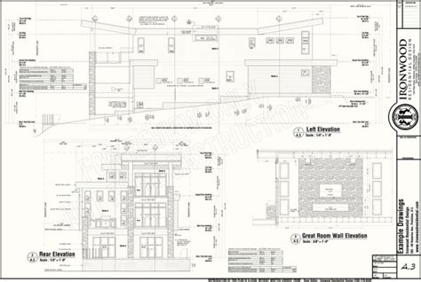 plan elevation and section of residential building ironwood residential 187 construction plans exle set