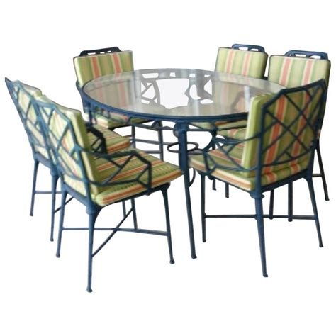 Brown Patio Furniture 9 Pc Brown Calcutta Patio Set Dining Table Arm Chairs End Tables Bamboo For Sale At 1stdibs