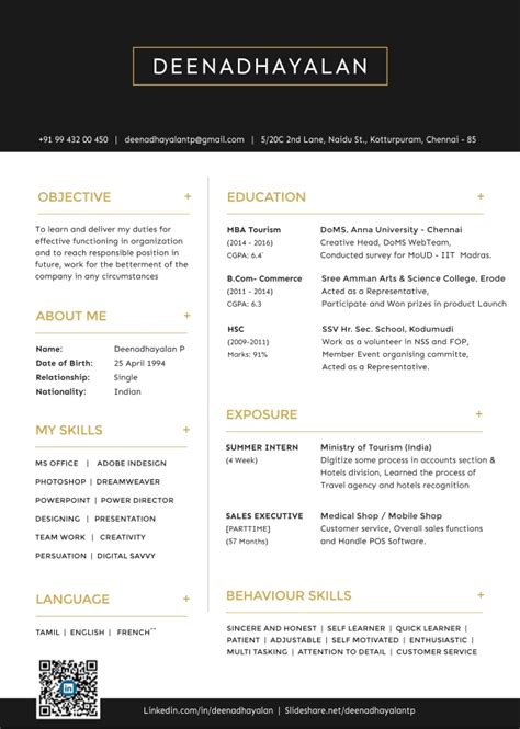 Mba Tourisme by One Page Resume Deenadhayalan Mba Tourism Management Student