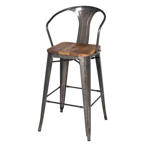 metal bar stool with wooden seat metropolis metal bar stool wood seat black set of 4 buy online at best price sohomod
