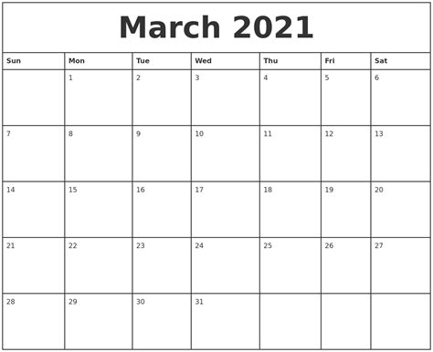 printable march weekly calendar march 2021 printable monthly calendar