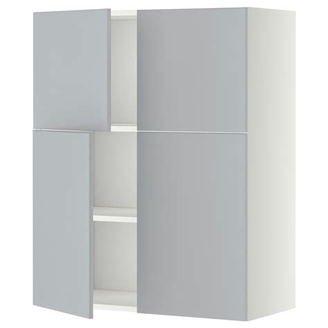 White Kitchen Wall Cabinets Metod Wall Cabinet With Shelves 4 Doors White Veddinge Grey 80x100 Cm Ikea