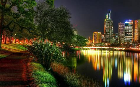 Wallpaper Melbourne Australia Night City Lights Park Lights Melbourne