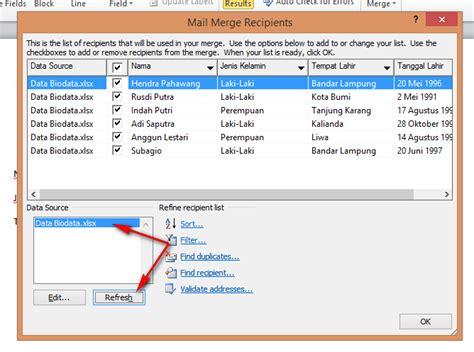 membuat mail merge di excel cara membuat mail merge di word menggunakan sumber data