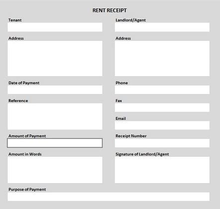 rent receipt template word uk free rent receipt template in excel pdf