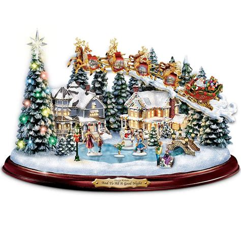 thomas kinkade lights sounds animated christmas scene
