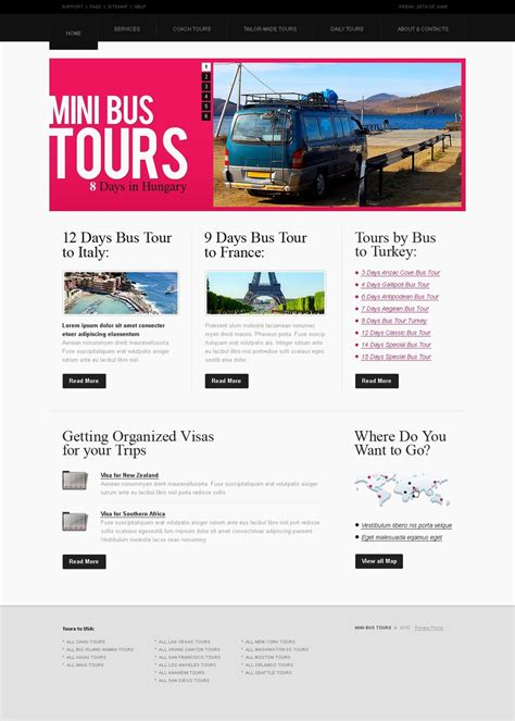 bus tours website template web design templates website