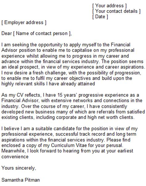 financial advisor cover letter exle financial advisor cover letter sle
