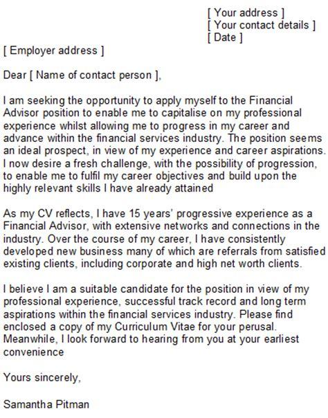 Financial Advisor Cover Letter Sample