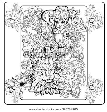 venetian masks coloring book for adults abstract carnival ink mask stock images royalty free