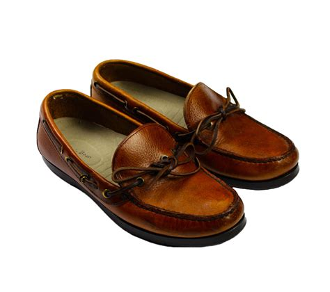 ll bean mens sandals vintage l l bean leather boat shoes mens from vintage mens