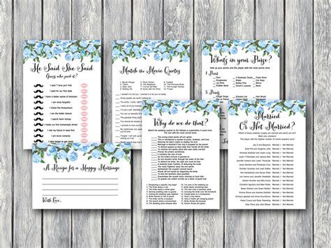printable co ed bridal shower games blue wedding shower games bride bows
