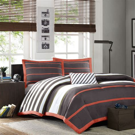 soft bedding sets beautiful modern orange grey green white stripe boys soft