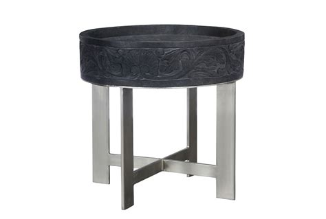 mango wood  grey  table living spaces