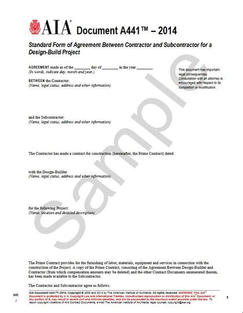 typical design and build contract arrangement a441 2014 standard form of agreement between contractor
