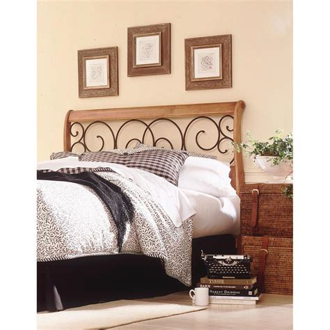 metal and wood headboard fashion bed group dunhill queen honey oak wood headboard