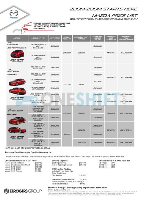 mazda price list mazda singapore printed car price list oneshift com