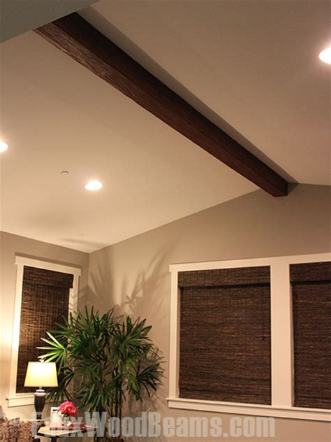 Diy Faux Ceiling Beams by Diy Beam Installation In The Family Room Faux Wood Workshop