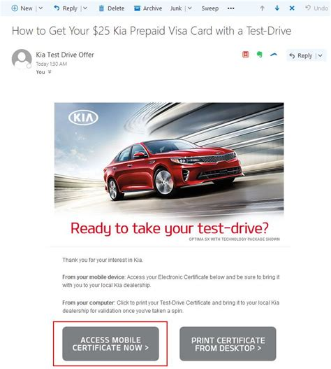 test drive the kia optima and get 25 youwheel your