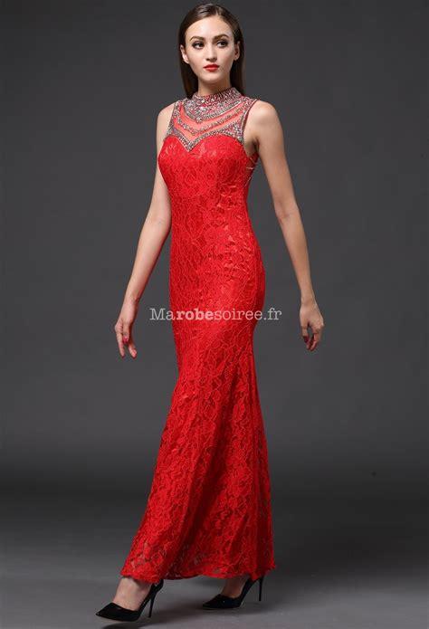 Robe de soirée longue rouge dentelle