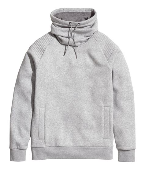 Chimney Neck Hoodie - h m sweatshirt with funnel collar in gray for lyst