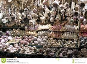 christmas decorations for sale at market royalty free