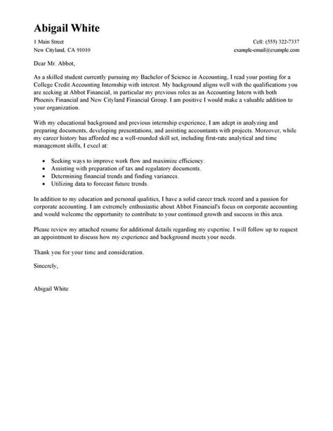 exle of a cover letter for an internship leading professional internship college credits