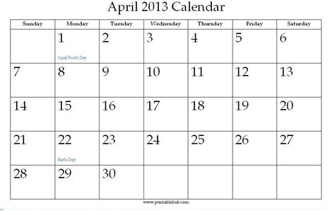 printable quarterly calendar 2013 8 best images of april printable calendar 2013 monthly