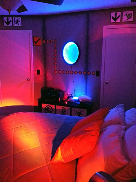 video game home decor ultra impressive portal testing chamber bedroom geekologie