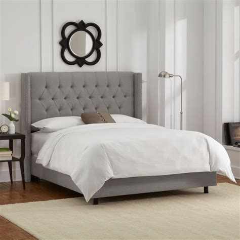 full tufted bed full diamond tufted wingback nail bed in linen gray