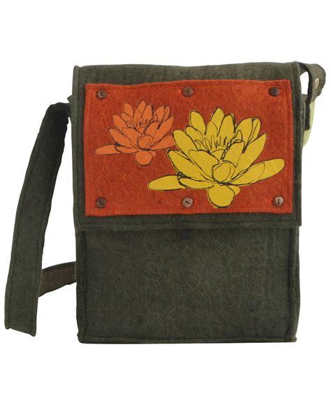 Handmade Wool Bags - fair trade felt messenger bag handmade in nepal