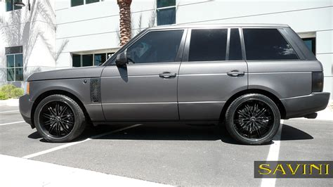 black land rover with black rims range rover savini wheels