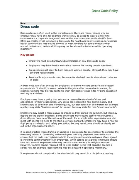 Canadian Dress Code Policy For Offices Dress Code Reminder Email Template