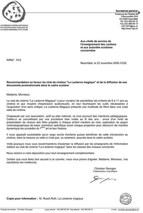 Lettre De Recommandation Commerciale Lettre De Recommandation La Lanterne Magique