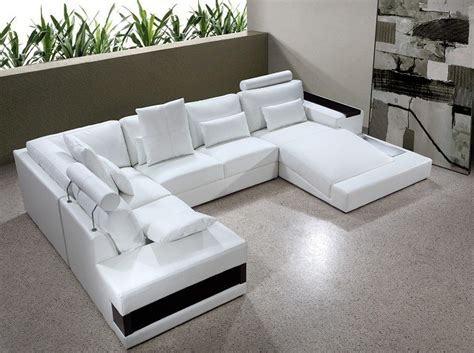 U Shaped Leather Sofa by Modern White Leather Quot U Quot Shaped Sectional Sofa W