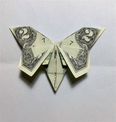 Two Dollar Bill Origami - a butterfly money origami made from a two dollar bill