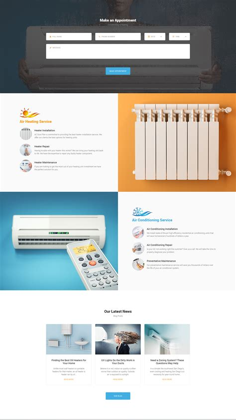 Aircool Conditioning And Heating Html Template Modern Web Templates Heating And Air Conditioning Website Templates