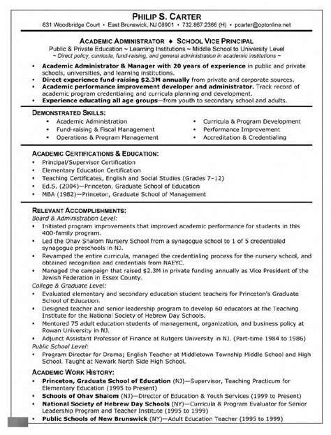 Resume Exles For Grad School Application Graduate School Supervisor Resume Free Resume Templates