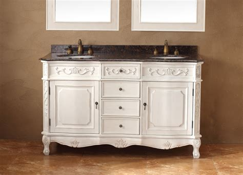 Antique White Double Vanity 60 Inch Double Sink Bathroom Vanity In Antique White